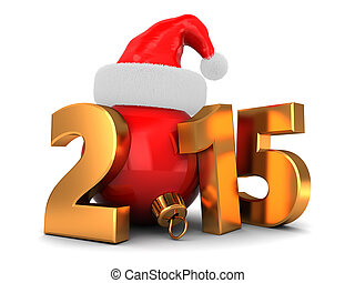 3d illustration of 2015 new year and Christmas concept