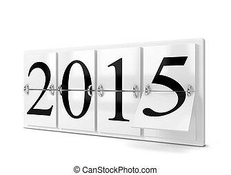 2015 year counter. 3d illustration isolated on white...