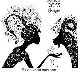 2015 year of the beautiful goat and Zodiac sign scorpio....