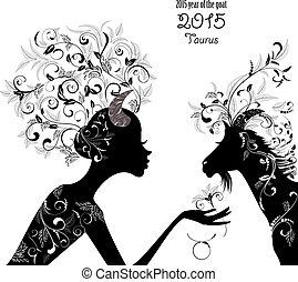 2015 year of the beautiful goat and Zodiac sign taurus....