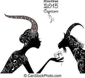 2015 year of the beautiful goat and Zodiac sign capricorn....