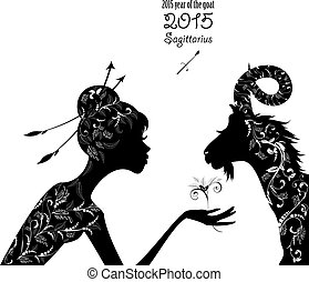 2015 year of the beautiful goat and Zodiac sign sagittarius. fas