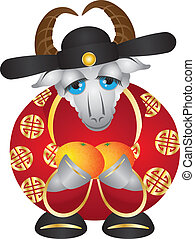 2015 Year of the Goat Money God with Oranges - 2015 Happy...
