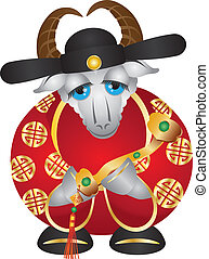2015 Year of the Goat Money God with Ruyi Scepter