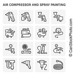 Air compressor and spray painting tool vector icon set design.