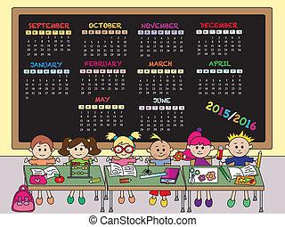 2015.2016, école, calendrier
