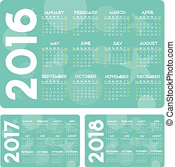 2016, カレンダー, ベクトル, 2017, 2018