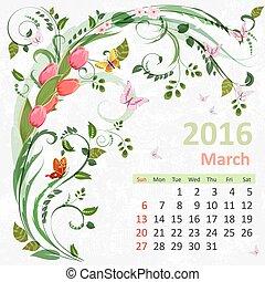 2016, カレンダー, 3月