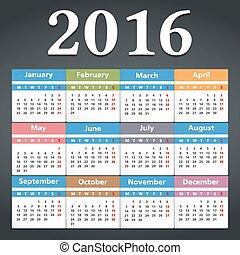 2016, カレンダー
