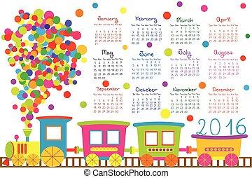 2016, 列車, 子供, カレンダー, 漫画