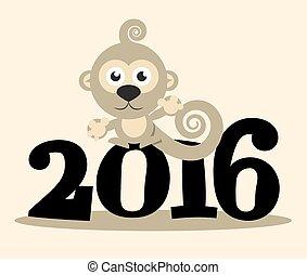 2016, 年, ∥で∥, サル, ベクトル, 平ら, デザイン, イラスト