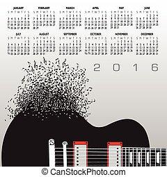 2016, 音楽, カレンダー