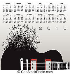 2016, 音樂, 日曆