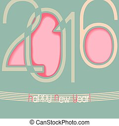 2016 abstract background with cut out elements of numbers