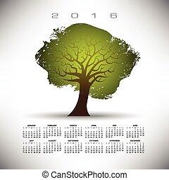2016, abstratos, árvore, calendário