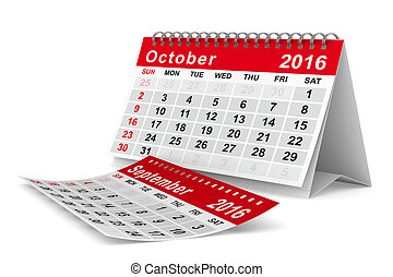 2016, anno, calendar., october., isolato, 3d, immagine