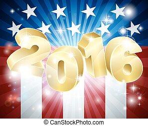 2016, bandera estadounidense, elección, concepto