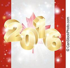 2016, bandiera, concetto, canadese