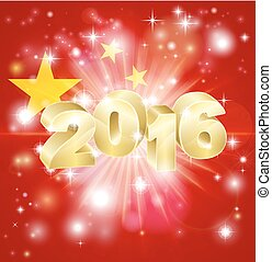 2016, bandiera, concetto, cinese