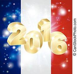 2016, bandiera, concetto, francese