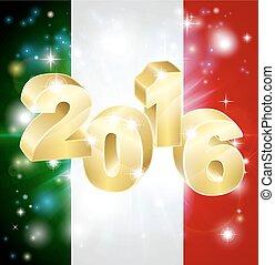 2016, bandiera, concetto, italiano
