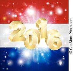 2016, bandiera, concetto, olandese