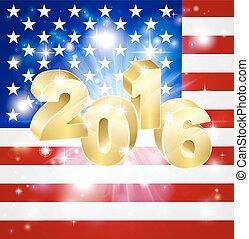 2016, bandiera, concetto, stati uniti