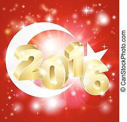 2016, bandiera, concetto, turco