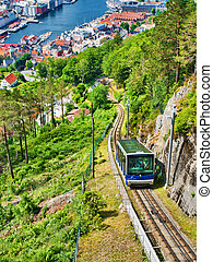 2016:, bergen, floibanen, funicular, -, bergen, junio, ...