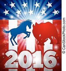 2016, burro, concepto, contra,  elephantelection