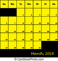 2016 Calendar Planner month of March