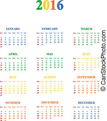 2016 Calendar With Season Specific Colors Vector ...
