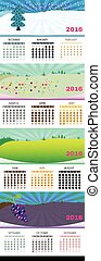 2016 Calendar, with seasonal design
