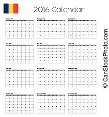 2016 Calendar with the Flag of Romania - A 2016 Calendar...