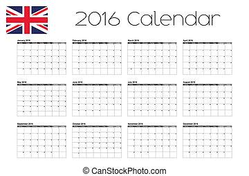 2016 Calendar with the Flag of United Kingdom