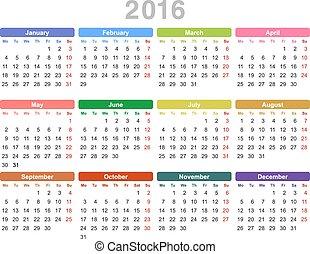 2016, calendario, anual, año