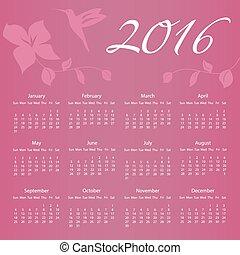 2016, calendario, con, colibrí, y, flor, con, semana, de arranque, en, domingo