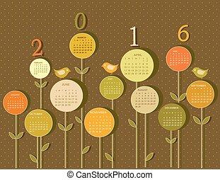 2016, calendario, flores, año