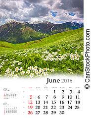 2016., calendrier, june.