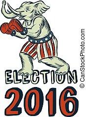 2016, cauterizando, pugilista, eleição, elefante, republicano