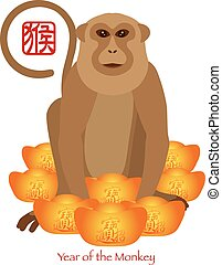 2016 Chinese Year of the Monkey with Gold Bars Color Illustration