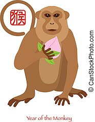 2016 Chinese Year of the Monkey with Peach Color Illustration