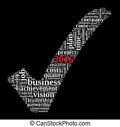 2016, concetto, parola, mete, nuvola