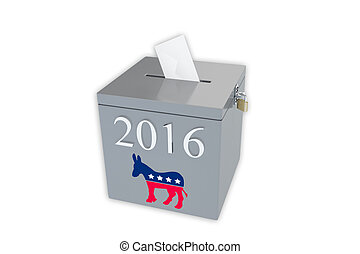 2016 Democratic primary ballot box - Render illustration of...