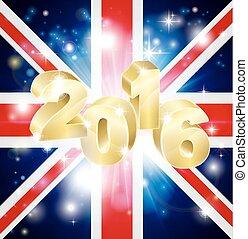 2016, drapeau, concept, britannique