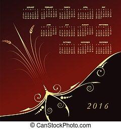 2016 Elegant floral calendar