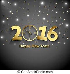 2016, felice anno nuovo, con, orologio