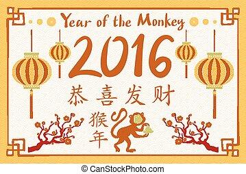 2016, feliz, ano novo chinês, de, a, macaco, com, china,...