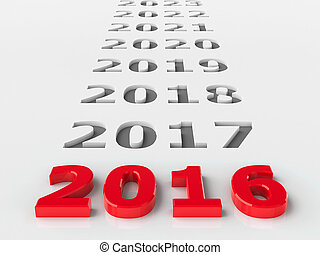 2016 future represents the new year 2016, three-dimensional rendering