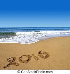 2016, geschreven, op, zandig strand